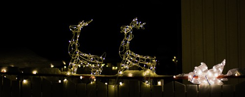 Weihnachtsgruß Beleuchteter Rentierschlitten
